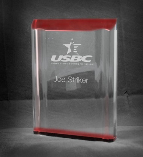 """Picture of Freestanding Red Acrylic Channel Award (4""""W x 5""""H)"""